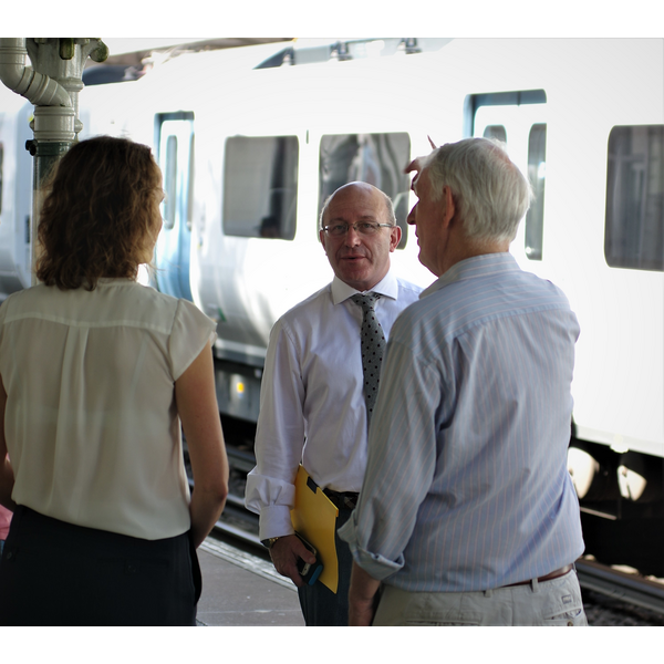 Thameslink Train at Burgess Hill Station with Robert Eggleston, PPC for Mid Sussex