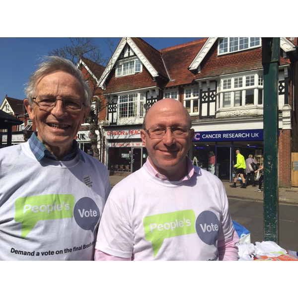 Robert Eggleston and Colin Wilsdon campaigning for a People's Vote