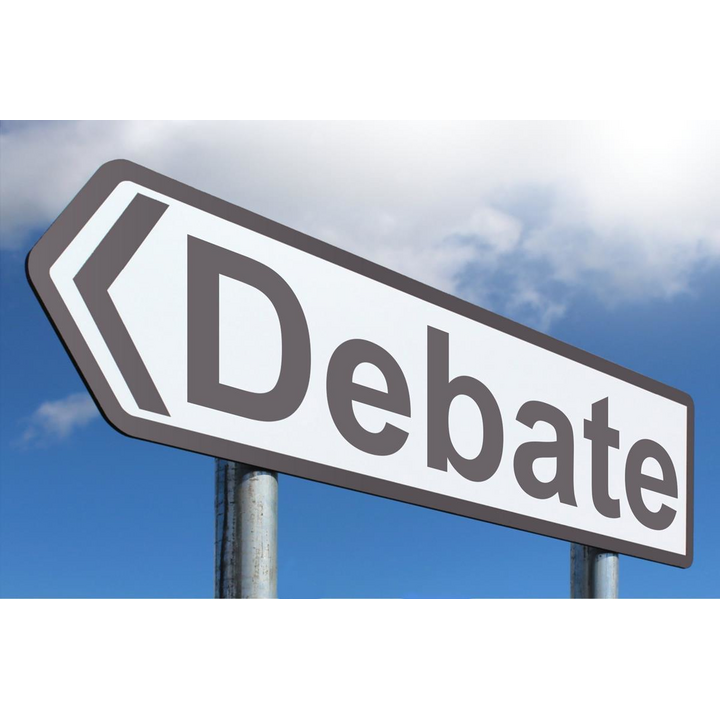 Debate sign (photo courtesy of creative commons licence https://www.picpedia.org/highway-signs/d/debate.html)