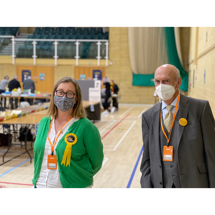 Cllr Kirsty Lord and Cllr Richard Cherry at Mid Sussex County 2021 Election Count